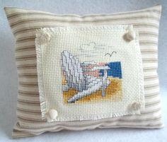 Beach Chair Cross Stitched Mini Pillow / Shelf Sitter / Beach / Seashore / Sand / Summer Decor by luvinstitchin4u on Etsy