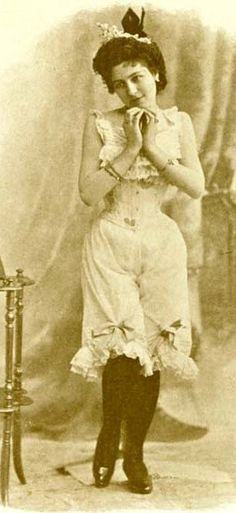 Victorian porno star....before the 1800 polite women went commando only prostitues bothered with pants..presumably because their legs got colder !