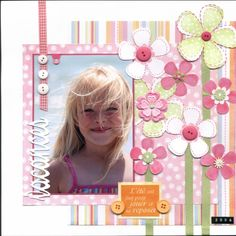 Scrapbook Ideas: Over Projects! Scrapbook Bebe, Baby Girl Scrapbook, Baby Scrapbook Pages, Papel Scrapbook, Scrapbook Designs, Scrapbook Sketches, Scrapbook Page Layouts, Scrapbook Paper Crafts, Scrapbook Cards