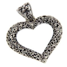 BEAUTIFUL!!Solid Sterling Silver BALI Flower HEART Pendant » P25 #Pendant