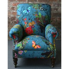 Pretty turquoise chair with flowers and butterflies