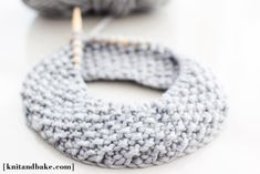 One Skein, One Night, Seed Stitch Tall Cowl [ Easy, Free Knitting Pattern ] | Knit and Bake