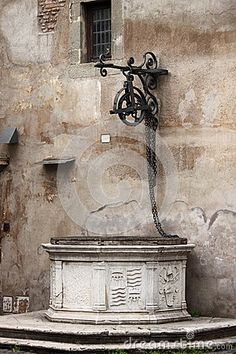 Medieval water well in Saint Angel Castle. Rome, Italy.