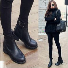 New-Punk-Womens-Black-100-Leather-Fur-Lined-Zipper-Round-Toe-Ankle-Boots-Shoes