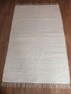 BEST SELLING FAIR TRADE  COTTON CHINDI CREAM RUG 90cm x 150cm