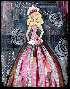 Art Journaling ((way too skinny body but love the skirt of the dress!))