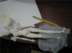 Jointed doll with his hands. Master class.