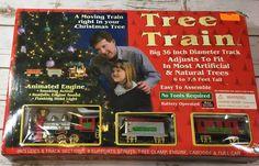 "Christmas Tree Train Set 36"" Track Goes Inside Your Holiday Tree Animated Engine  | eBay"