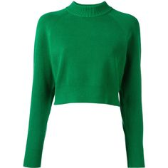 DKNY Funnel-neck Sweater (€270) ❤ liked on Polyvore featuring tops, sweaters, green long sleeve top, green top, funnel neck sweater, green sweater and dkny sweater