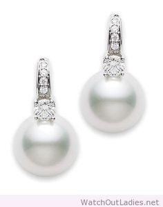 Sea pearl and diamond earrings