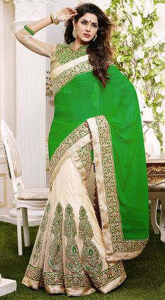 USD 122.29 Parrot Green Georgette Party Wear Lehenga Saree 42463