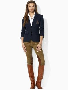 { Great blazer.  She really does need to go riding though if she's going to be in full breeches and boots.