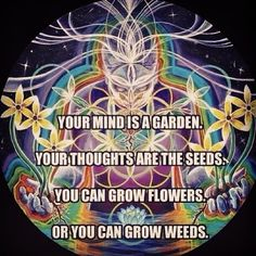 ~Your mind is the garden  Your thoughts are the seeds You can grow flowers or you can grow weeds ~ #spiritual #hippie #quotes