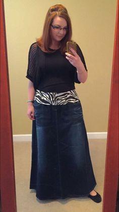 Touch of Zebra Long Denim Skirt | Style J denimskirts.com