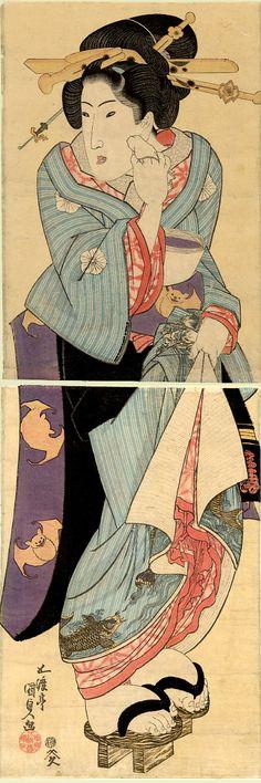 Utagawa Kunisada (Toyokuni III) Young Woman Pausing to Cool Down, woodblock print, ca. Japanese Drawings, Japanese Artwork, Japanese Cartoon, Japanese Prints, Day In Japanese, Vintage Japanese, Geisha, Art Occidental, Japan Painting