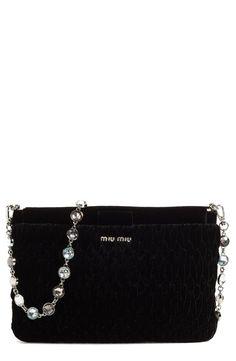5bc9ce011c45 Miu Miu Crystal Strap Quilted Velvet Shoulder Bag