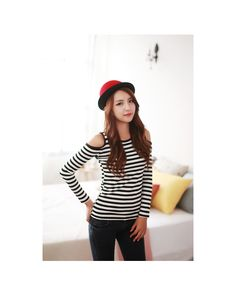 Envy Look  Cutaway-Shoulder Stripe T-Shirt