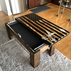 Lockable Rustic Brown Burnt American Flag Jon Hetrick added a photo of their purchase Pallet Furniture, Furniture Projects, Gun Concealment Furniture, Hidden Gun Cabinets, Secret Compartment Furniture, Hidden Gun Storage, American Flag Wood, Woodworking Projects Diy, Diy Wood Projects For Men