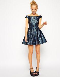 ASOS   ASOS Off Shoulder Jewel Jacquard Bardot Prom Dress at ASOS