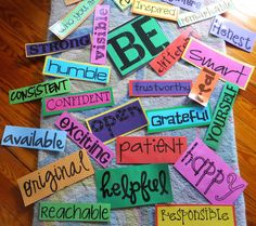 "BE YOURSELF BULLETIN BOARD: Pinned from a blog post entitled, ""Entirely Elementary...School Counseling""  written by Susan Fuller - Susan not only writes a great tutorial (including pics of laminated words and mini posters), she also generously includes links to the components of the entire board - so recreating it is super simple. Thank you, Susan!!! (Free word download links in post)"