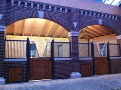 Brick stable. Love the small doors for instant fresh water access. Looks like a time saver for larger stables.