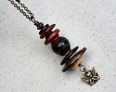 Brown Bead Necklace Angel Stacked Rustic Wood by LittleBitsOFaith