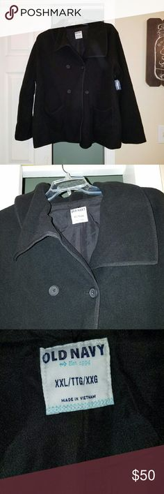 BNWT Black Old Navy Fleece Peacoat size XXL New with tags, never worn. Very warm and soft. True to size. 2 pockets and a thick collar. Perfect for fall or early winter. Worn with a sweatshirt or sweater underneath could be good for winter too. Open to offers. Old Navy Jackets & Coats Pea Coats