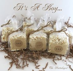 Burlap wrapped popcorn bars @The Partiologist