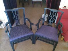 Gotta love the Goth look on these two sitting chairs. The deep purple fabric really gives them an edge! Sold!