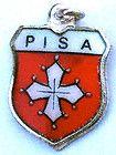 PISA ITALY Silver Vintage Enamel Travel Shield Charm