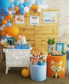 Boys 1st Birthday Party Ideas, Wild One Birthday Party, 1st Boy Birthday, Birthday Party Decorations, Fox Party, Baby Party, Baby Shower Themes, Baby Boy Shower, Birthday Backdrop