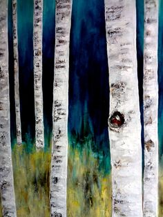 Blue & Yellow Birch Tree Print 8 1/4 x 10 3/4 by SarahsArtPlus, $27.00