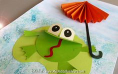 Bri-coco de Lolo: Frog and umbrella - Chopping collage for j . Frog Crafts, Preschool Crafts, Diy And Crafts, Crafts For Kids, Arts And Crafts, Paper Crafts, Origami, Creative Pictures, Spring Art