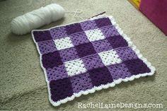 Purple Gingham Granny Square crochet blanket