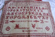 Vintage French Antique1902 Sampler by foreverfrench on Etsy, €125.00
