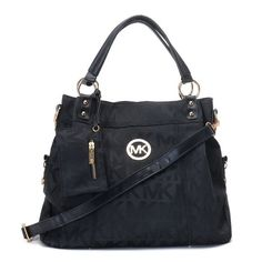 Michael Kors Classic Monogram?Removable Strap Large Black Totes Outlet