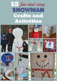 East Coast Mommy: 13 Snowman Crafts and Activities Christmas Crafts For Kids, Diy Christmas Ornaments, Christmas Art, Christmas Projects, Holiday Crafts, Holiday Fun, Fun Crafts, Christmas Stuff, Christmas Gifts