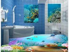 3d wallpaper custom 3d wall floor painting wallpaper 3 d underwater world floor tile of the ground room photo floor wallpaer(China (Mainland))