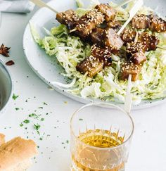 Bourbon and pork marry in this sticky, lip-smacking dish that we seriously can't get enough of. Serves as a main or more as nibbles Pork Strips, Bourbon Glaze, Alcohol Recipes, Pork Belly, The Dish, Crisp, Toast, Glazed Pork, Dishes