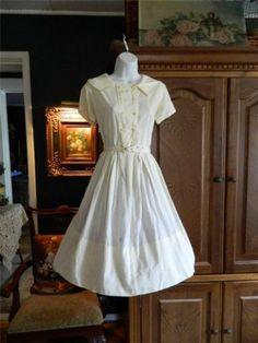 Vintage 50's 60's Semi Sheer Yellow Dress w NIP Waist Full Skirt Sweet L | eBay