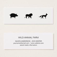 Animal Icons / Black Mini Business Card Custom office supplies #business #logo #branding