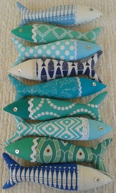 Handmade Decorative Items by OlaFishyWishy Fabric Toys, Fabric Art, Fabric Crafts, Sewing Crafts, Sewing Projects, Art Projects, Fish Crafts, Beach Crafts, Crafts To Make