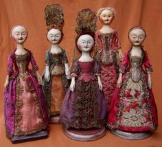 18th-century-fashion-dolls. Before fashion magazines styles were advertised with dolls. Mantua makers sent miniatures with instructions how to dress the dolls in the outfits, therefore advertising the new styles, fabrics and silhouettes.