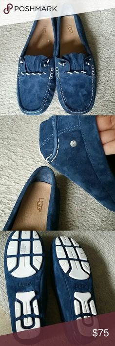 UGG leather loafer Deep royal blue suede leather loafer. Brand new only tried on carpet floor. Rare find from UGG. Size 9 true to size does not run small. Warm from thick suede for the cold weather and light enough foe spring or early summer. UGG Shoes Flats & Loafers