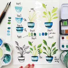 Happy Friday ☺️💚 and it's time for a new tutorial 😉🎨🌿 Hope you will like this indoor plant. Just a few words about colors I use in my…