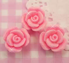 6 x Large Glittery Roses Flat Back Cabochons Kawaii Kitsch Decoden
