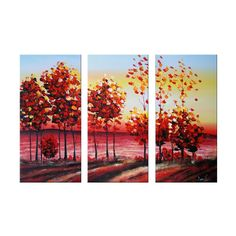 Autumn Tree Canvas Wall Art Landscape Oil Painting