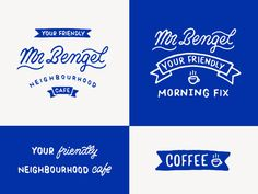 Mr Bengel cafe logo design branding script typography coffee