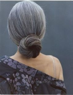 Gorgeous grey hair.