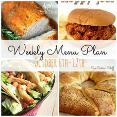 Weekly Menu Plan October 6-12 ~ Six Sister's Stuff